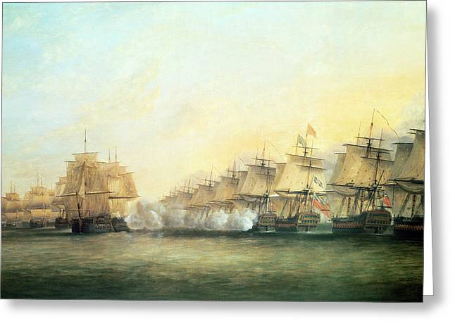 Firing Greeting Cards - The fourth action off Trincomalee between the English and the French Greeting Card by Dominic Serres