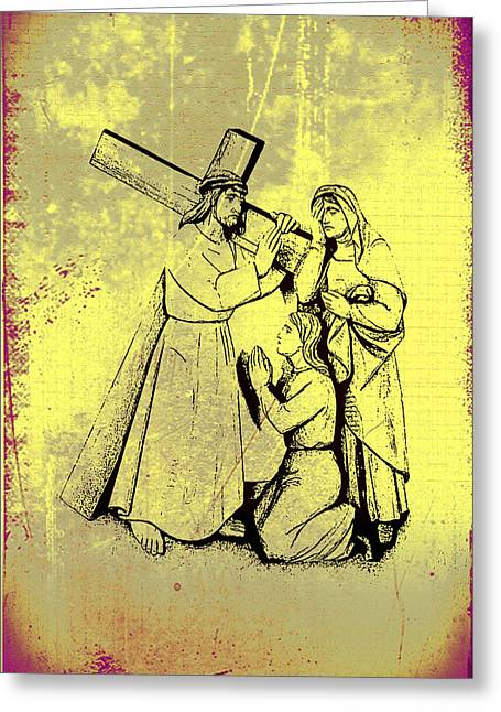 Mother Mary Digital Art Greeting Cards - The Fourth Station of the Cross - Jesus Meets his Mother Greeting Card by Bill Cannon