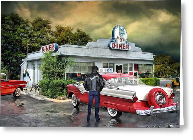 Diner Greeting Cards - The Fox Diner .... Greeting Card by Rat Rod Studios