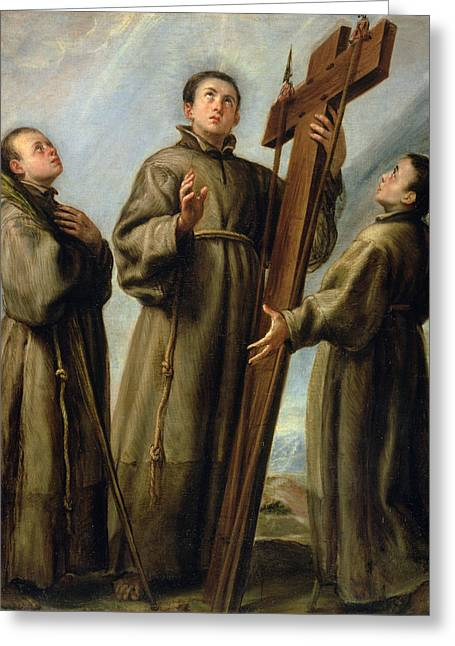 Processions Greeting Cards - The Franciscan Martyrs in Japan Greeting Card by Don Juan Carreno de Miranda