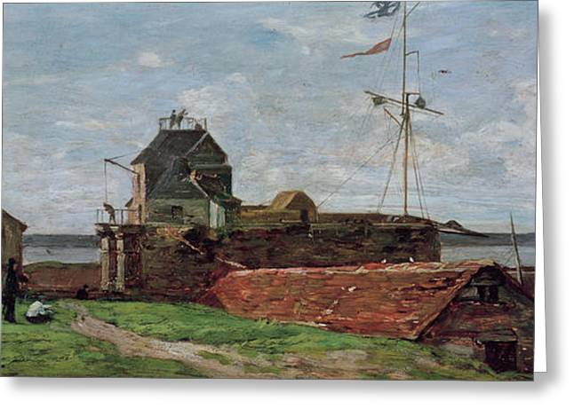 Francois Greeting Cards - The Francois Ier Tower at le Havre Greeting Card by Eugene Louis Boudin