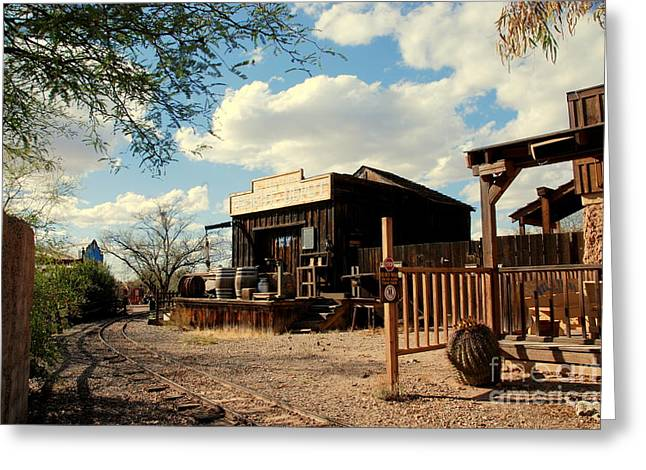 Architectural Greeting Cards - The Freight Depot in Old Tuscon Arizona Greeting Card by Susanne Van Hulst