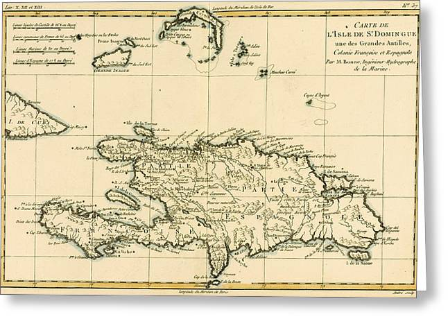 West Indies Greeting Cards - The French and Spanish Colony of the Island of St Dominic of the Greater Antilles Greeting Card by Guillaume Raynal