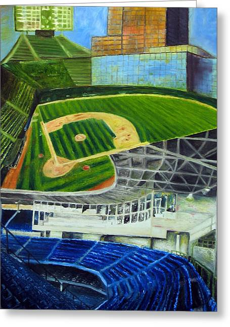 Baseball Field Drawings Greeting Cards - The Friendly Confines Greeting Card by Chris Ripley