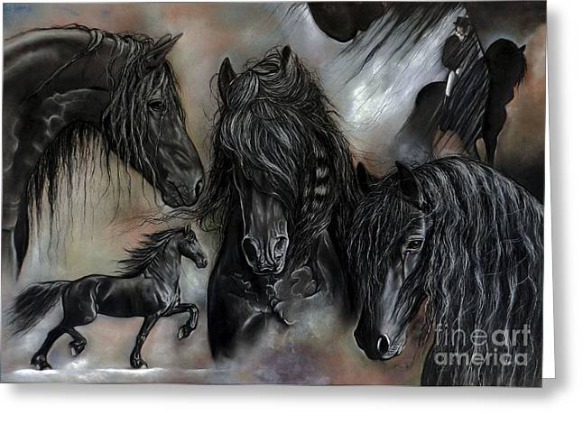 Equines Pastels Greeting Cards - The Friesians In My Head Greeting Card by Caroline Collinson
