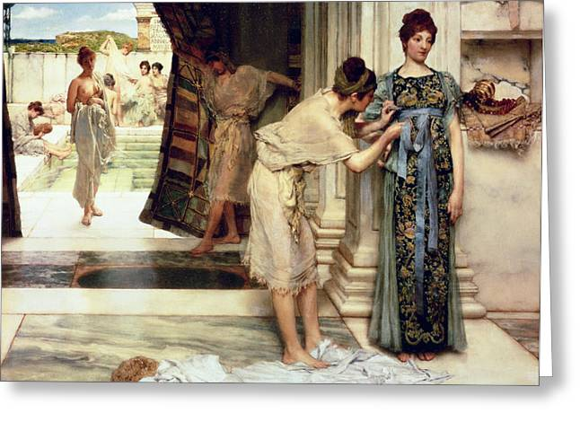 Recently Sold -  - Slaves Greeting Cards - The Frigidarium Greeting Card by Sir Lawrence Alma-Tadema