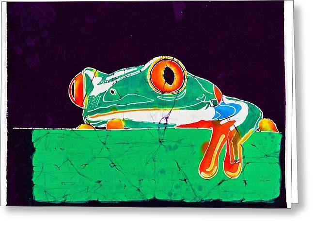 Batik Crackle Greeting Cards - The Frog Greeting Card by Gene Tilby