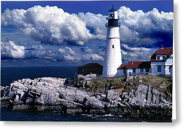 Portland Head Lighthouse Greeting Cards - The Front At Portland Head Greeting Card by Skip Willits