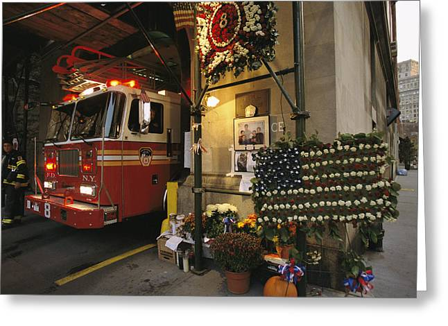 Bravery Greeting Cards - The Front Of Ladder Company 8s Station Greeting Card by Ira Block