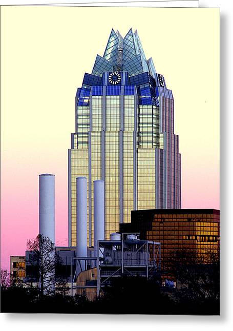 Austin Downtown Greeting Cards - The Frost Tower  Greeting Card by Lisa  Spencer