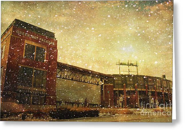 Footballs Greeting Cards - The Frozen Tundra Greeting Card by Joel Witmeyer