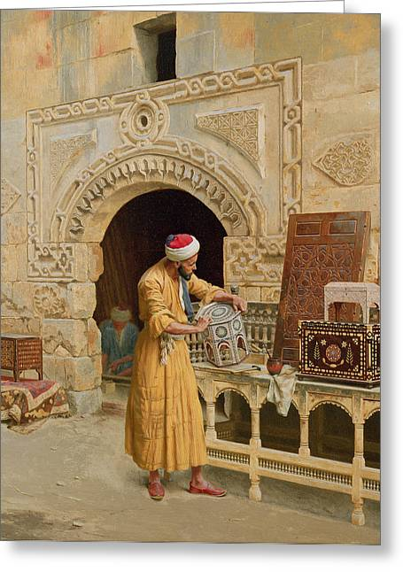 Stone Paintings Greeting Cards - The Furniture Maker Greeting Card by Ludwig Deutsch