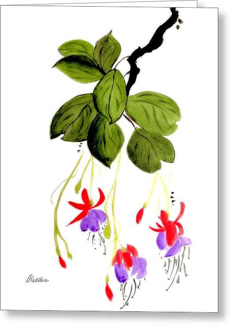 Fushia Paintings Greeting Cards - The Fuschia Greeting Card by Alethea McKee