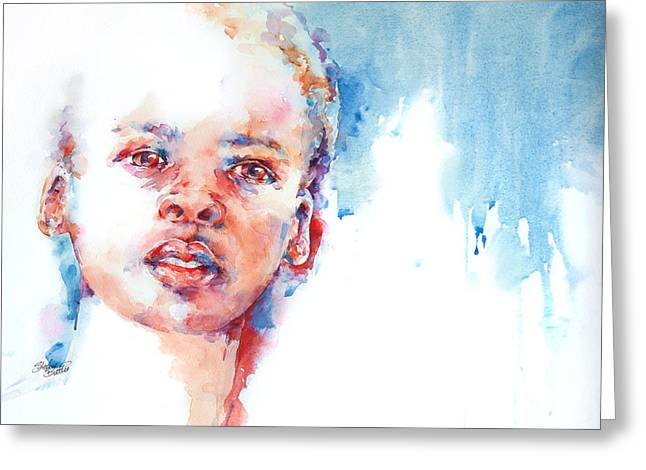 Watercolour Portrait Greeting Cards - The Future?... Greeting Card by Stephie Butler