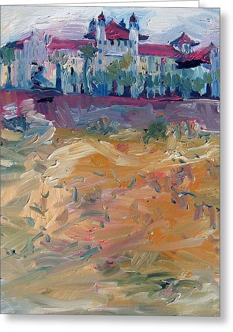 Galveston Paintings Greeting Cards - The Galvez from the Old Balinese Pier Greeting Card by Natalie Rodgers