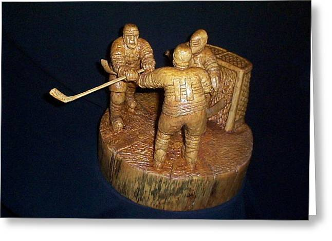 Hockey Sculptures Greeting Cards - The Game Greeting Card by Deverne Rushton