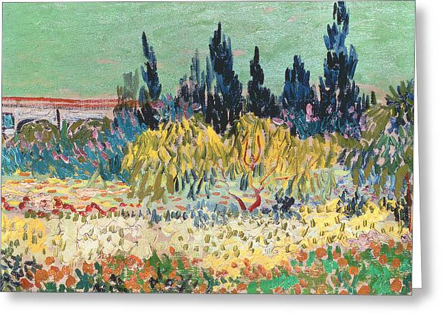 Masterpiece Paintings Greeting Cards - The Garden at Arles  Greeting Card by Vincent Van Gogh