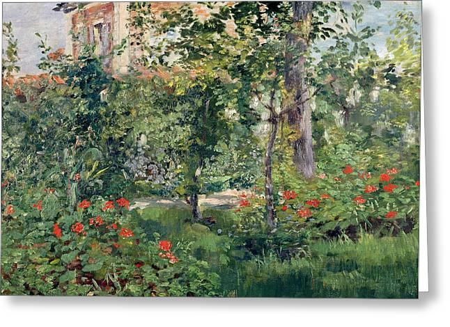 Country Cottage Greeting Cards - The Garden at Bellevue Greeting Card by Edouard Manet