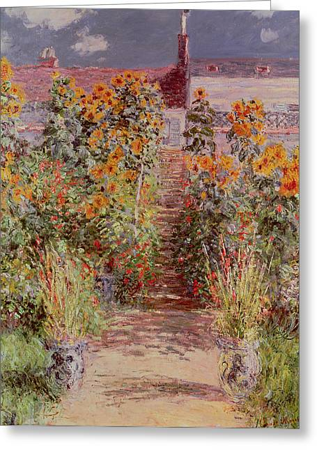 Flower Bed Greeting Cards - The Garden at Vetheuil Greeting Card by Claude Monet