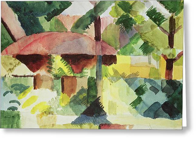 Macke Greeting Cards - The Garden Greeting Card by August Macke