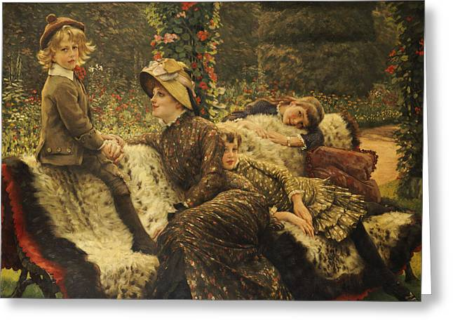 Add Greeting Cards - The Garden Bench Greeting Card by Tissot