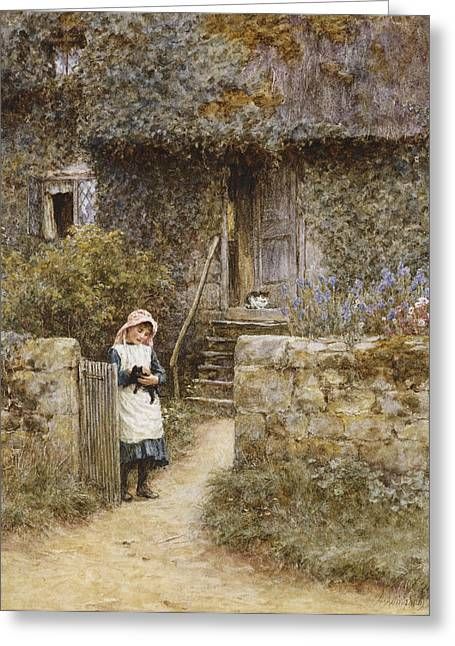 Boundaries Greeting Cards - The Garden Gate Greeting Card by Helen Allingham