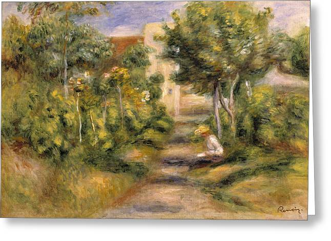 Renoir Greeting Cards - The Garden in Cagnes Greeting Card by Pierre Auguste Renoir