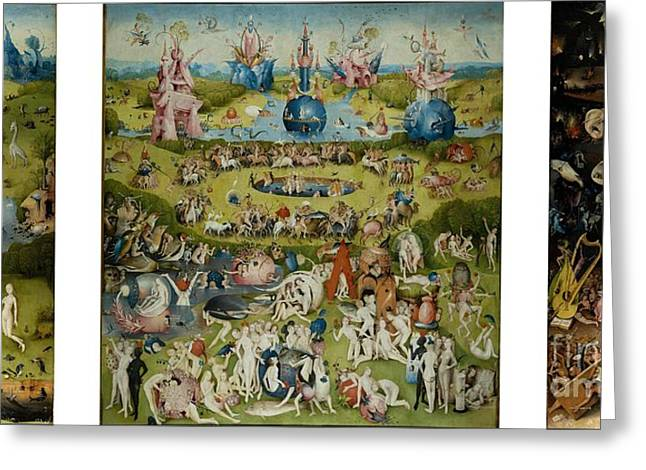 Earthly Greeting Cards - The Garden of Earthly Delights by Hieronymus Bosch Greeting Card by Pg Reproductions