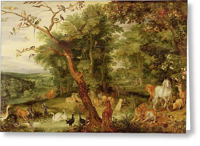 The Horse Greeting Cards - The Garden of Eden Greeting Card by Jan the Elder Brueghel