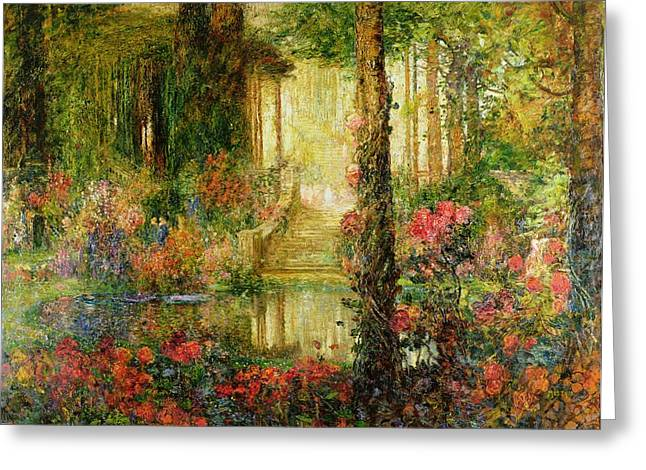 Woodland Scenes Paintings Greeting Cards - The Garden of Enchantment Greeting Card by Thomas Edwin Mostyn