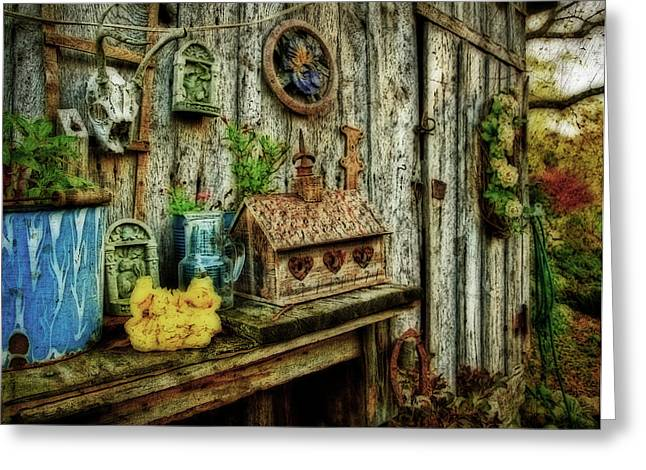 Shed Greeting Cards - The Garden Shed Greeting Card by Kathy Jennings