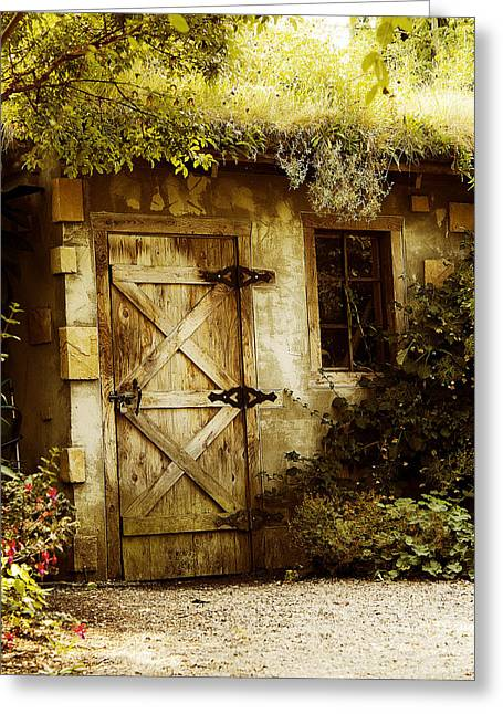The Garden Shed Greeting Card by MaryJane Armstrong