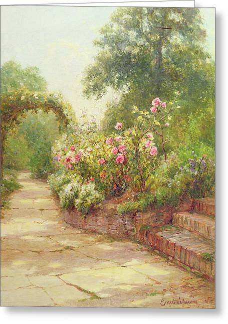 Gorgeous Greeting Cards - The Garden Steps   Greeting Card by Ernest Walbourn