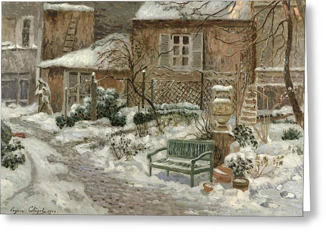 The Houses Greeting Cards - The Garden under Snow Greeting Card by Eugene Chigot
