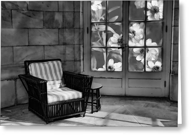 Wicker Furniture Greeting Cards - The Gardeners Chair Greeting Card by Robin-lee Vieira