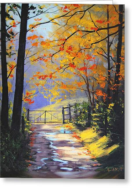 Fall Trees Greeting Cards - The Gate Greeting Card by Graham Gercken