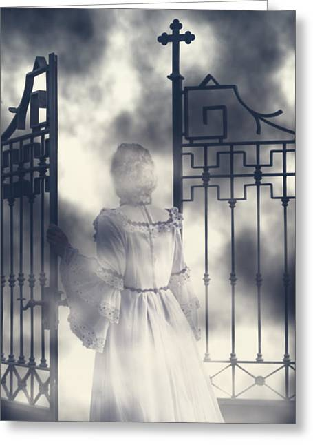 Ghostly Greeting Cards - The Gate Greeting Card by Joana Kruse