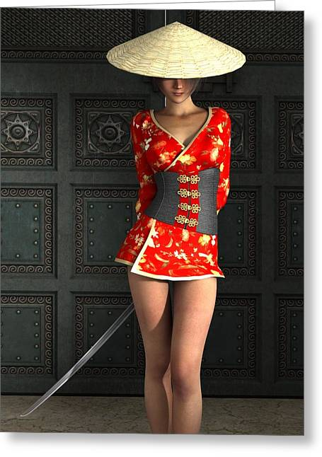 Kunoichi Greeting Cards - The Gate Keeper Greeting Card by Alexander Butler