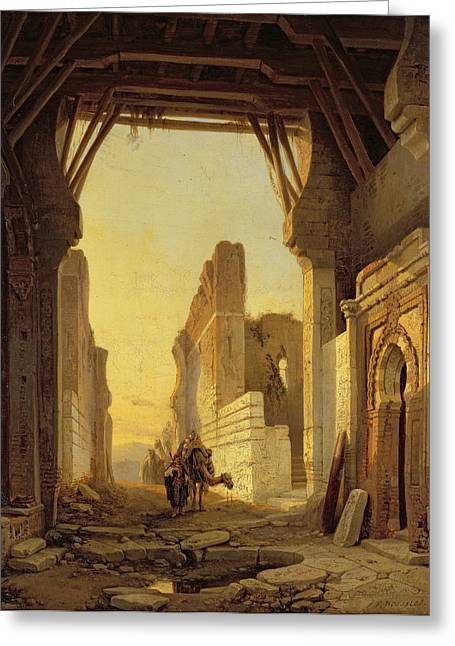 Travellers Greeting Cards - The Gates of El Geber in Morocco Greeting Card by Francois Antoine Bossuet