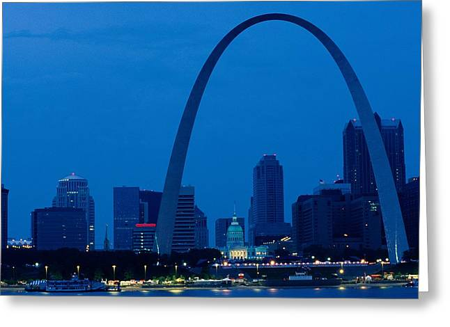 Streetlight Greeting Cards - The Gateway Arch National Historic Site Greeting Card by Medford Taylor
