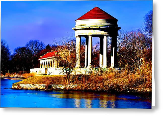 Franklin Roosevelt Greeting Cards - The Gazebo and Boathouse at Franklin Delano Roosevelt Park Greeting Card by Bill Cannon