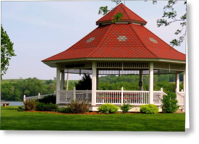 Coppery Greeting Cards - The Gazebo On The Lake Greeting Card by Kay Novy