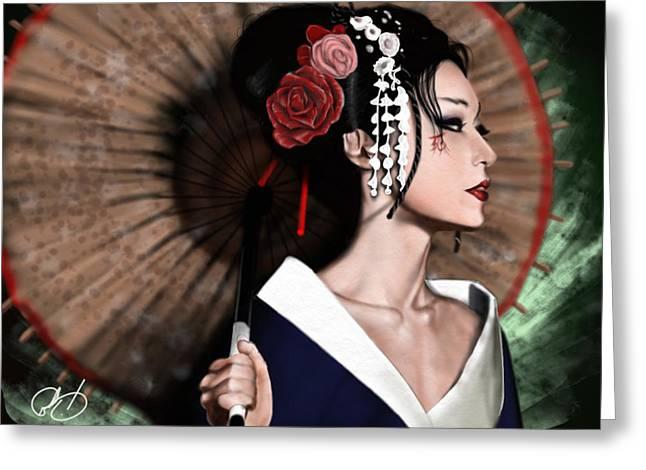Ups Greeting Cards - The Geisha Greeting Card by Pete Tapang