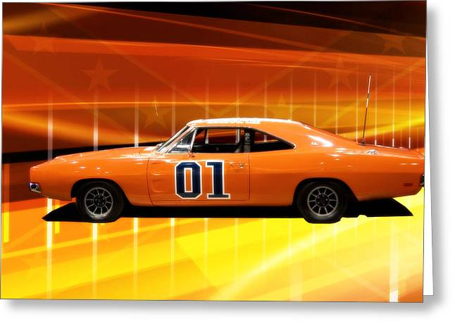 Hazzard County Greeting Cards - The General Lee Greeting Card by Joel Witmeyer