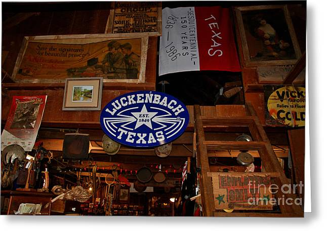 Historic Country Store Greeting Cards - The General Store in Luckenbach TX Greeting Card by Susanne Van Hulst