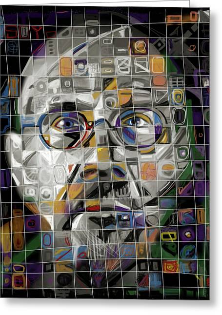 Mosaic Portraits Mixed Media Greeting Cards - The Genius Greeting Card by Russell Pierce