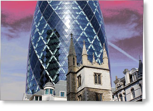 The Gherkin London Greeting Card by Jasna Buncic
