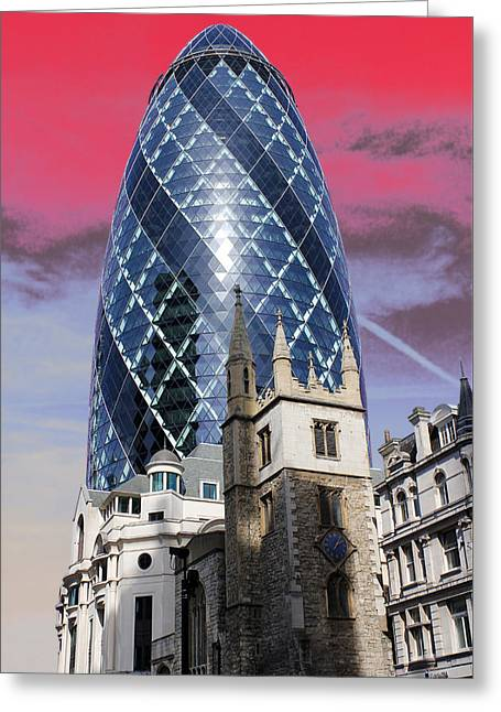 Jasna Greeting Cards - The Gherkin London Greeting Card by Jasna Buncic