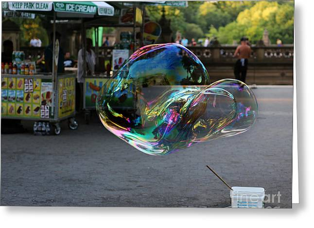 Child In Clouds Greeting Cards - The Giant Bubble at Bethesda Terrace Greeting Card by Lee Dos Santos
