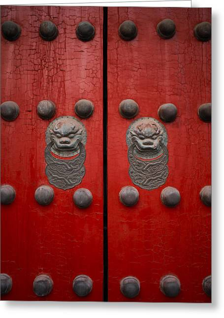Doors And Doorways Greeting Cards - The Giant Red Doors To The Forbidden Greeting Card by Justin Guariglia
